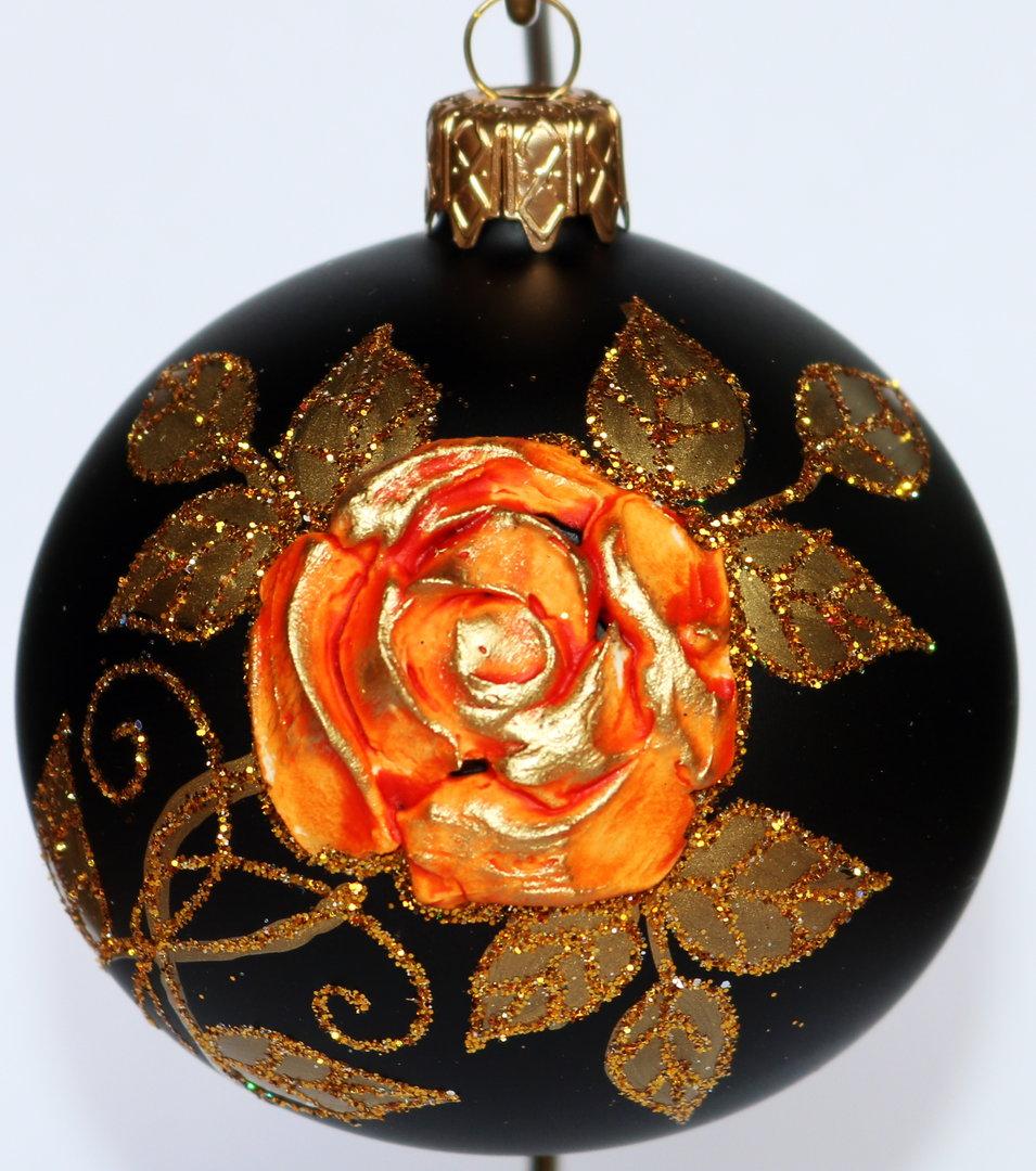 schwarze weihnachtskugeln mit organenen rosen aus glas 4er set 8 cm ebay. Black Bedroom Furniture Sets. Home Design Ideas