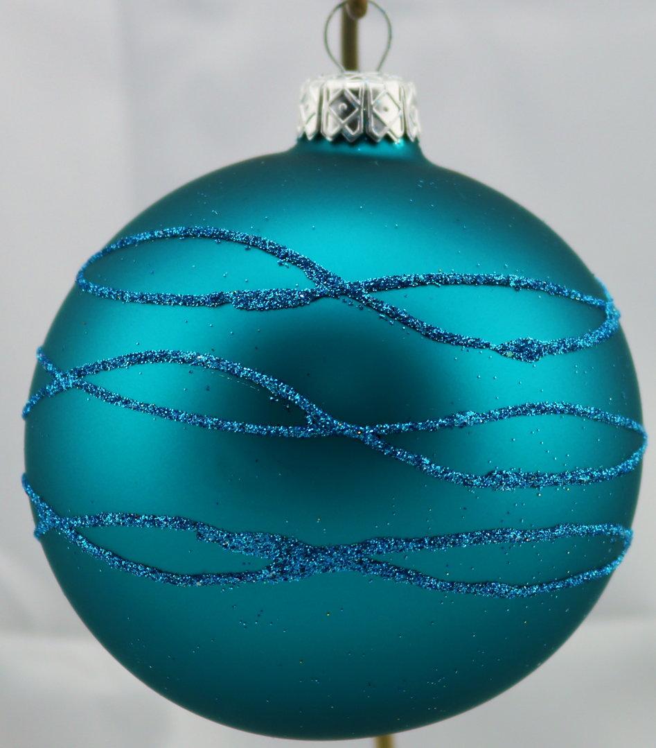 matte petrolfarbene weihnachtskugeln mit glitzerstreifen. Black Bedroom Furniture Sets. Home Design Ideas