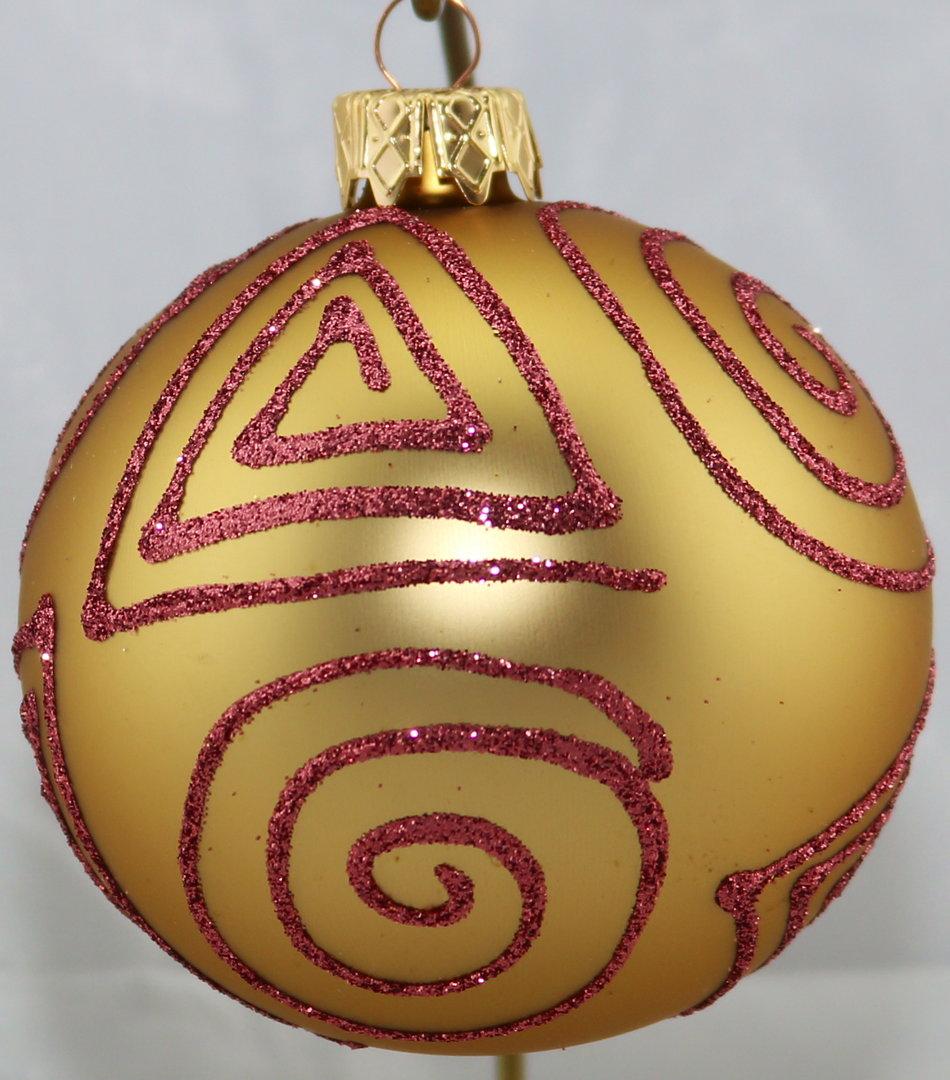 Matte goldene weihnachtskugeln aus glas mit pinken applikationen - Weihnachtsbaumkugeln schwarz ...