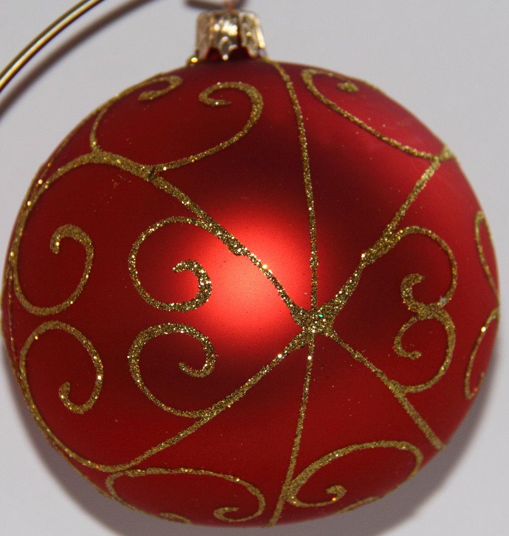 rote weihnachtskugeln aus glas mit goldener verzierung 4er set. Black Bedroom Furniture Sets. Home Design Ideas