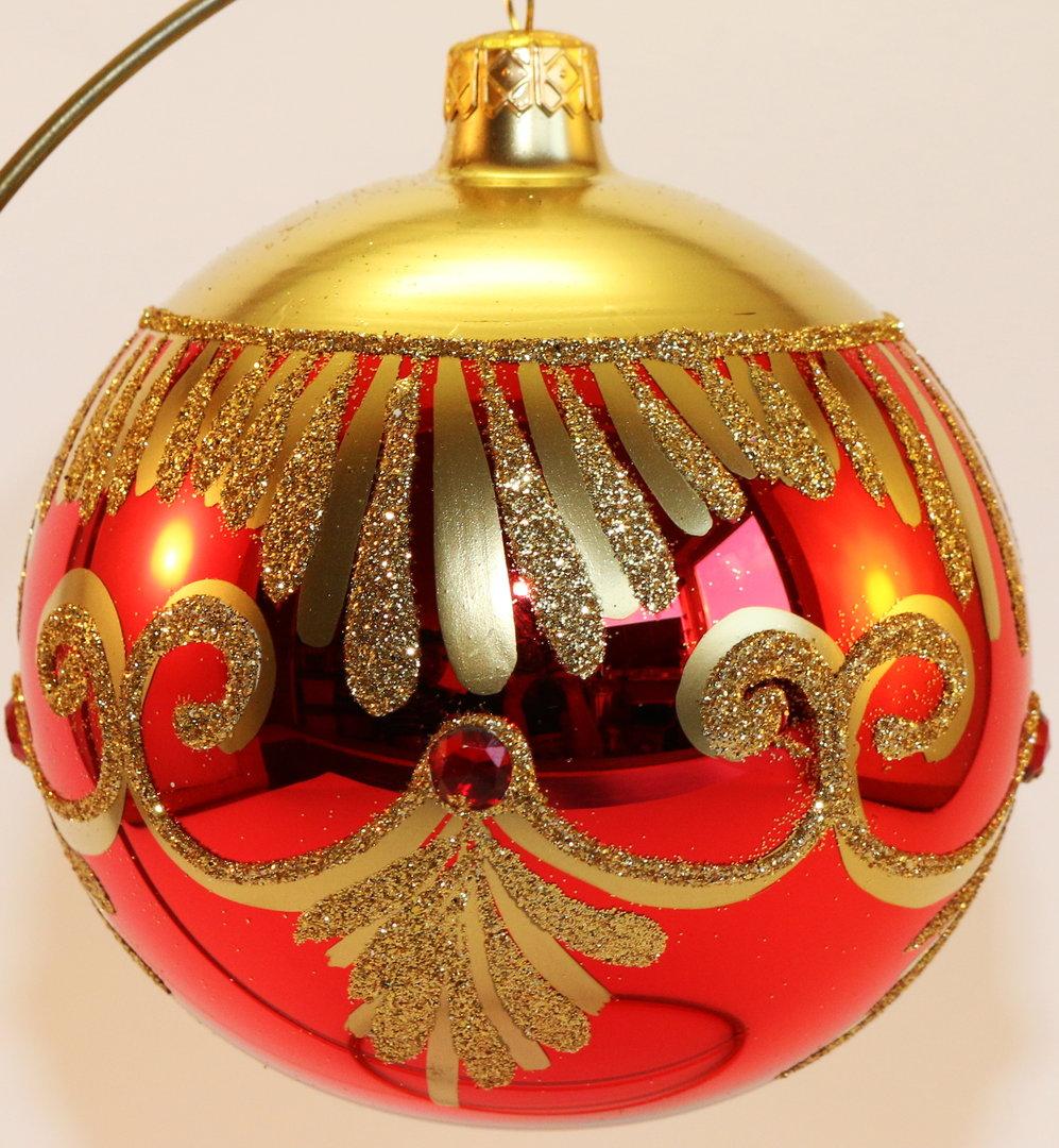 gl nzende rot goldene weihnachtskugeln aus glas. Black Bedroom Furniture Sets. Home Design Ideas