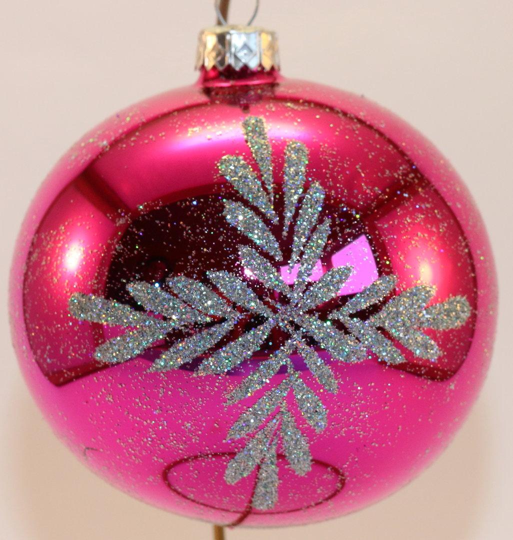 2 t rkise und 2 pinke weihnachtskugeln aus glas mit reflex for Pinke weihnachtskugeln