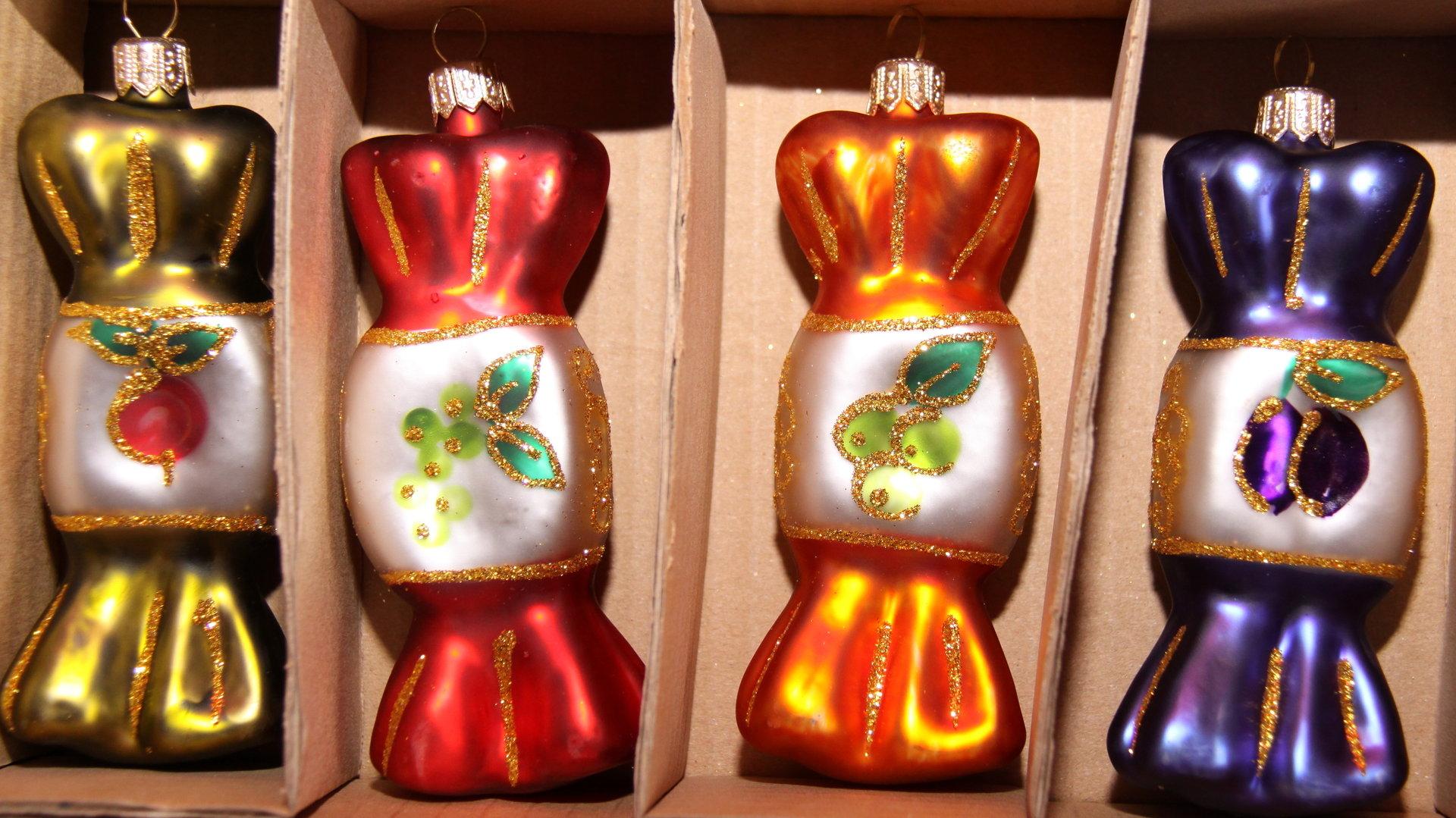 weihnachtskugeln aus glas in form von bonbons online kaufen. Black Bedroom Furniture Sets. Home Design Ideas