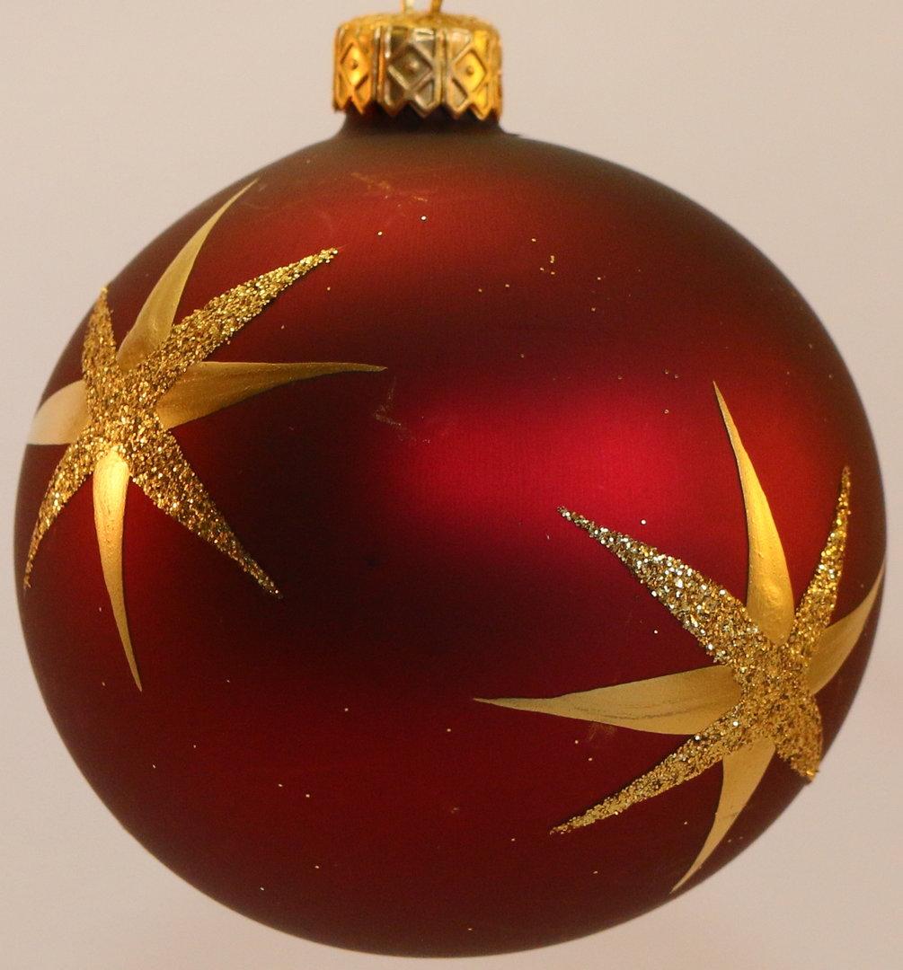 matte dunkelrote weihnachtskugeln aus glas mit sternen. Black Bedroom Furniture Sets. Home Design Ideas