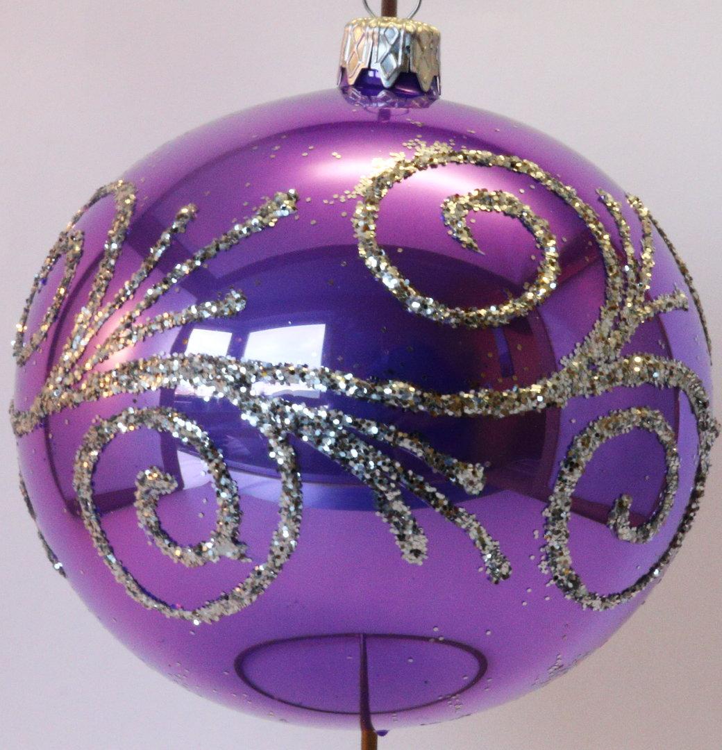 gl nzende lilane weihnachtskugeln aus glas 4er set 10 cm aus glas ebay. Black Bedroom Furniture Sets. Home Design Ideas