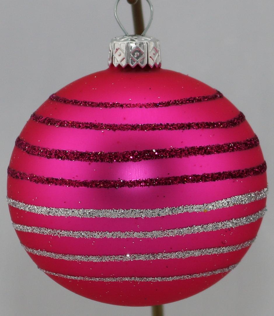 Matte pinke weihnachtskugeln mit glitzerringen aus glas for Pinke weihnachtskugeln