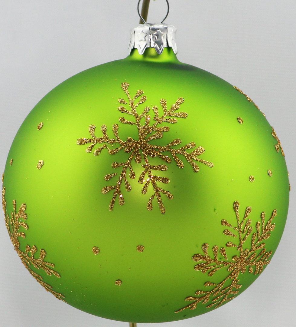 matte gr ne weihnachtskugeln mit goldenen sternen aus glas 10cm. Black Bedroom Furniture Sets. Home Design Ideas