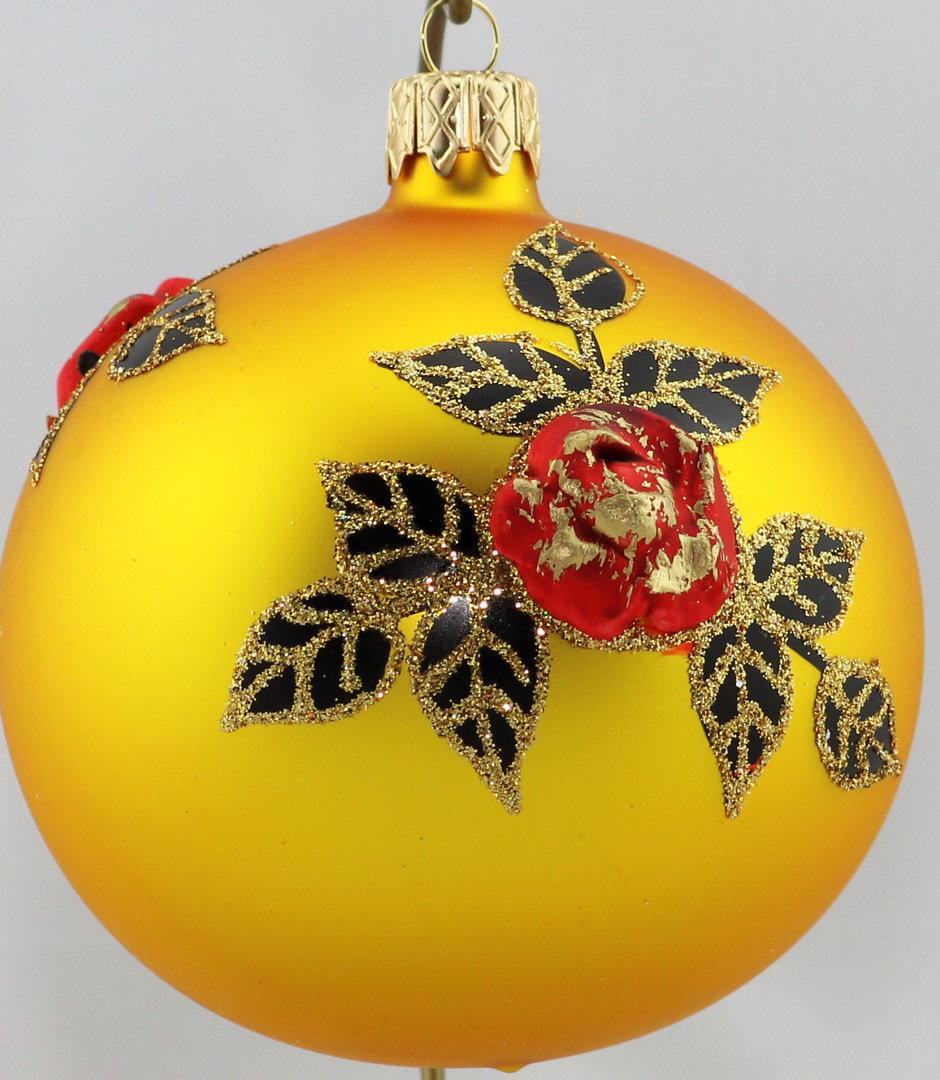 matte goldene weihnachtskugeln mit rosen aus glas 10 cm. Black Bedroom Furniture Sets. Home Design Ideas