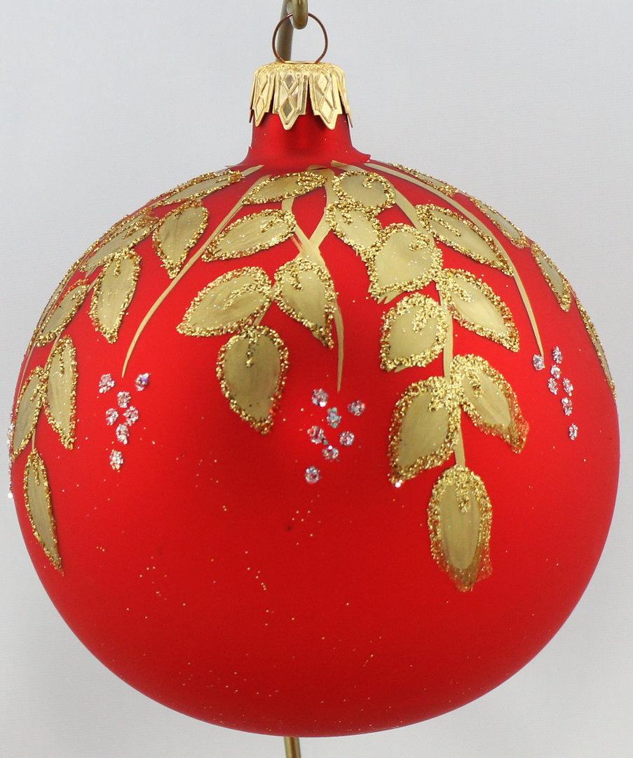 rote weihnachtskugeln mit goldenen verzierungen aus glas 10 cm. Black Bedroom Furniture Sets. Home Design Ideas