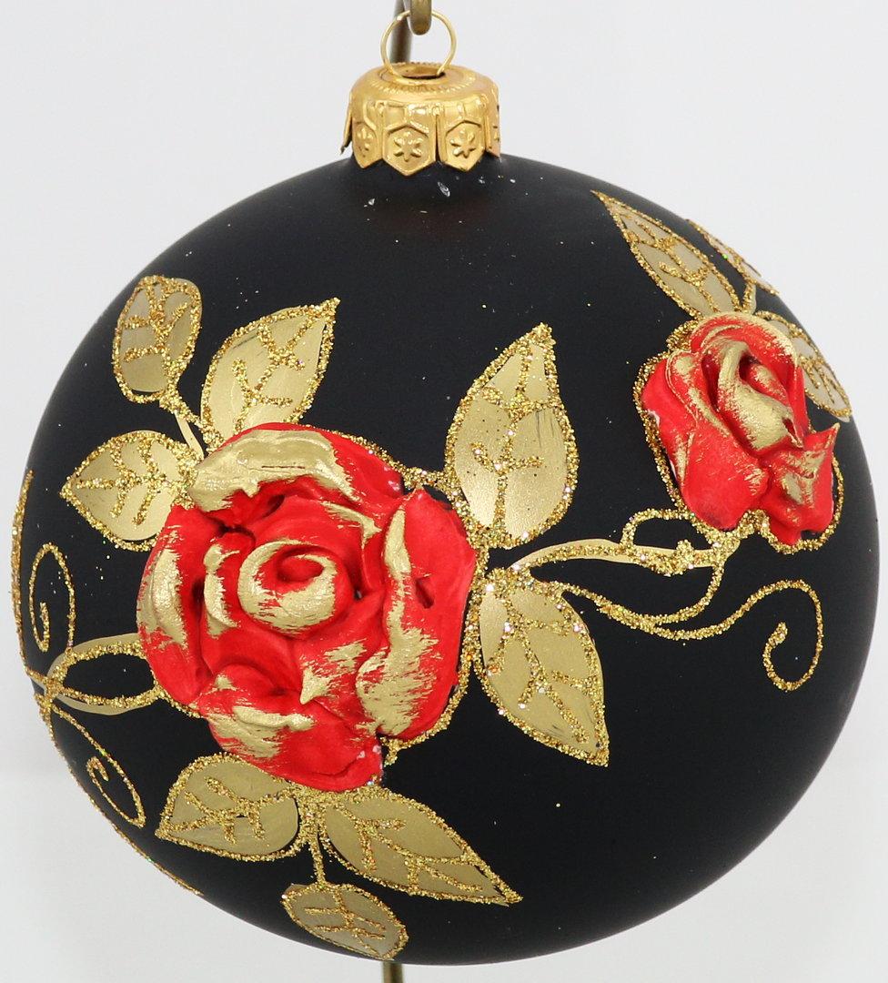 matte schwarze weihnachtskugel mit roten rosen aus glas 10 cm. Black Bedroom Furniture Sets. Home Design Ideas
