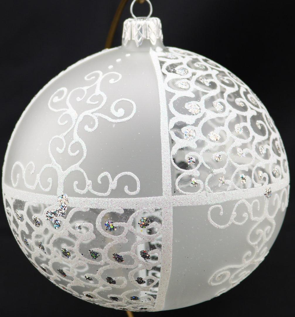 durchsichtige sowie matte weihnachtskugeln aus glas 12 cm. Black Bedroom Furniture Sets. Home Design Ideas