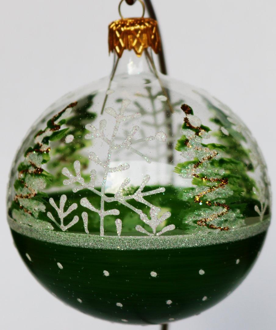 gr ne und halb durchsichtige weihnachtskugeln aus glas 8 cm. Black Bedroom Furniture Sets. Home Design Ideas