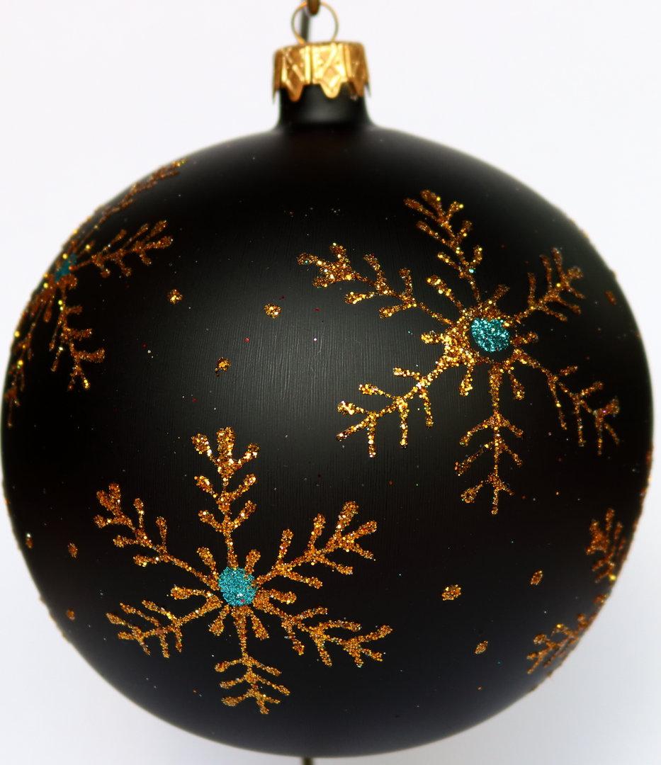 schwarze weihnachtskugeln aus glas mit goldenen verzierungen. Black Bedroom Furniture Sets. Home Design Ideas
