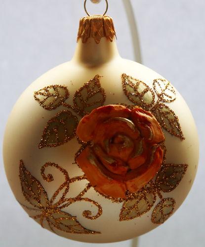 Goldene Weihnachtskugeln.Goldene Weihnachtskugeln Aus Glas Mit Organgenen Rosen 4er Set
