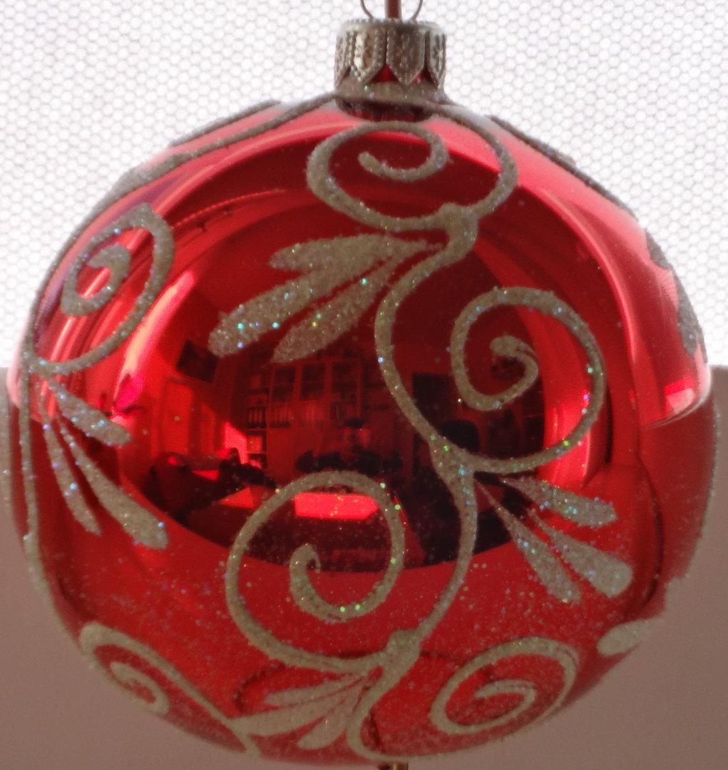 Glänzende rote Weihnachtskugeln mit Applikationen aus Glas 5er Set Ø 6 cm
