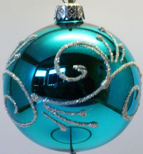 Christbaumkugeln Türkis Glas.Glänzende Türkise Weihnachtskugeln