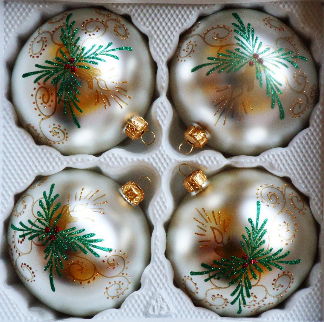 Matte silberne weihnachtskugeln aus glas 10 cm 4er set - Weihnachtskugeln aus glas ...