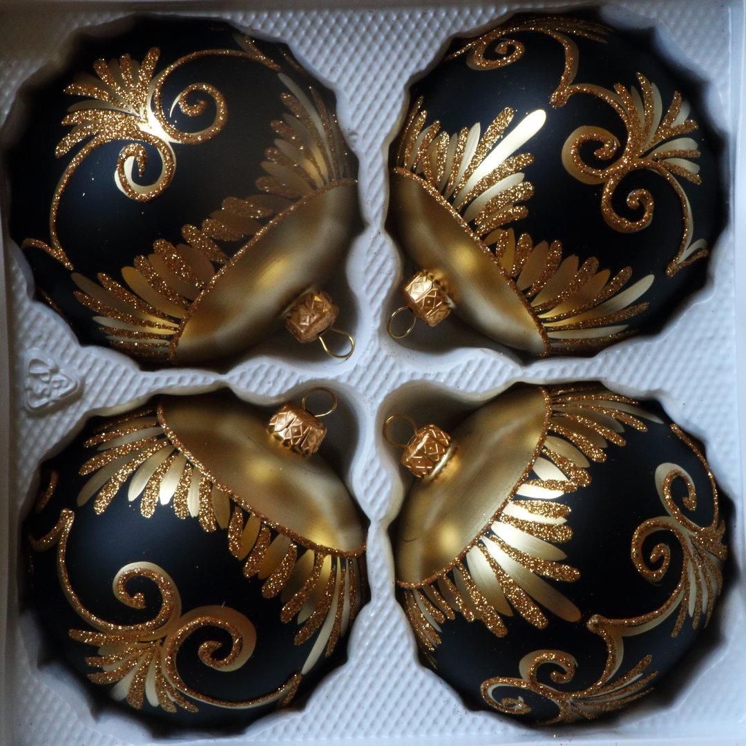 Matte weiß und goldene Weihnachtskugeln aus Glas 4er Set Ø 10 cm