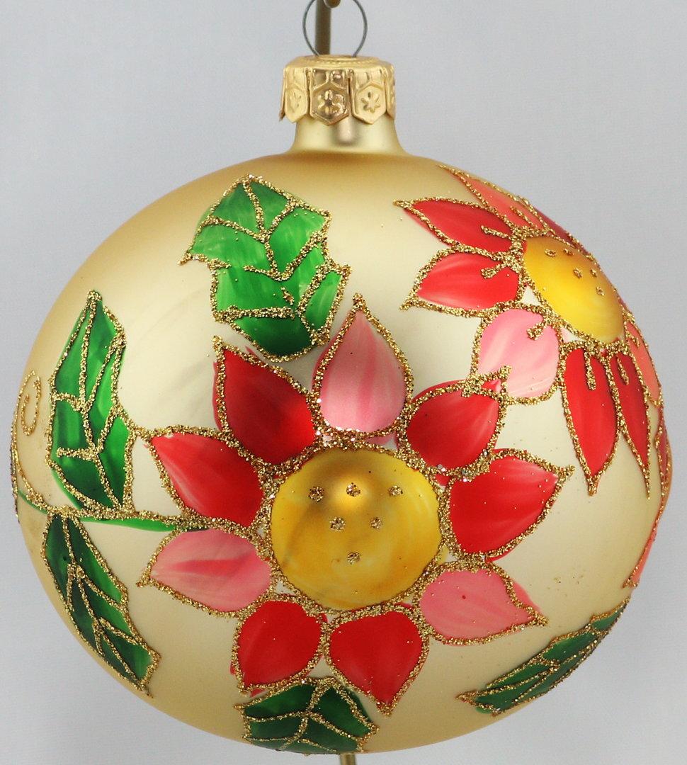 Matte creme farbene weihnachtskugeln mit blumen aus glas 10 cm - Durchsichtige weihnachtskugeln ...