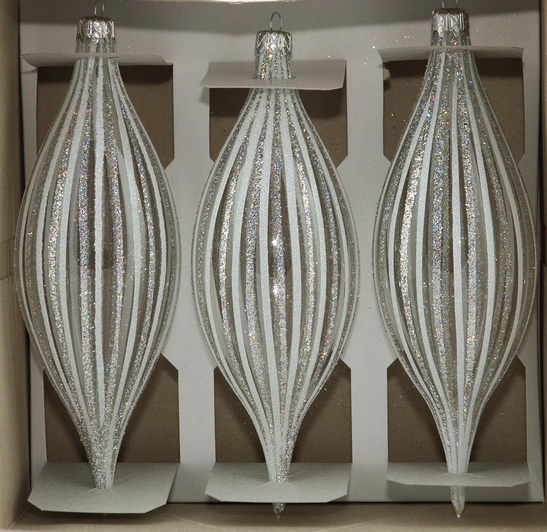 Durchsichtige zapfen weihnachtskugeln aus glas 3er set - Durchsichtige weihnachtskugeln ...