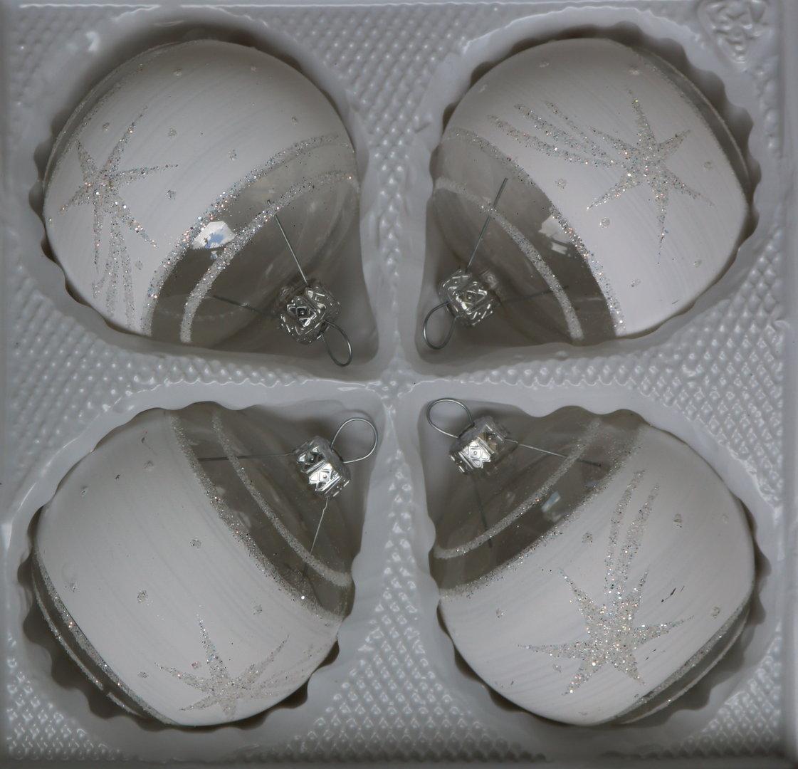 Wei e und halb durchsichtige weihnachtskugeln aus glas 7cm - Durchsichtige weihnachtskugeln ...