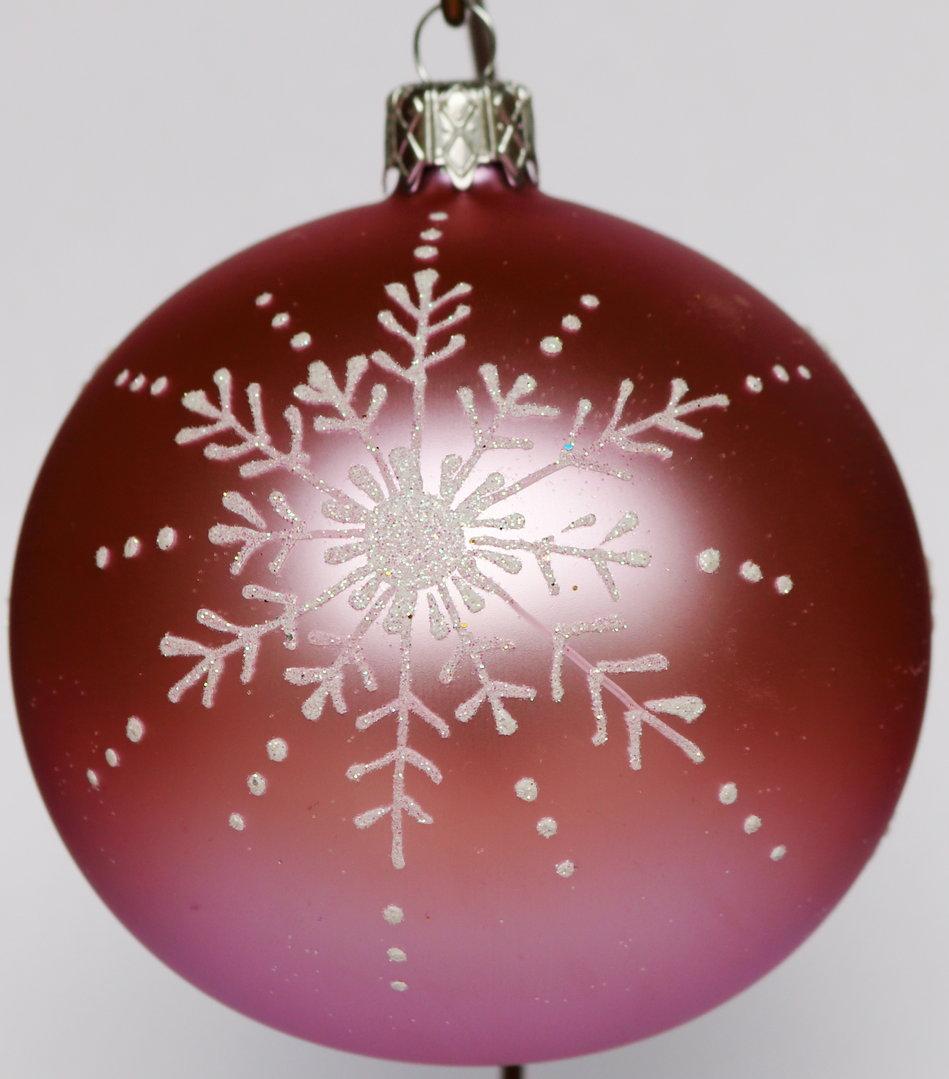 Rosane weihnachtskugeln aus glas mit silbernen verzierungen - Weihnachtskugeln aus glas ...